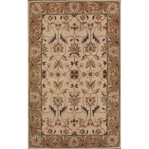 Pugh Agra Oriental Hand-Tufted Wool Beige/Ivory Area Rug by World Menagerie