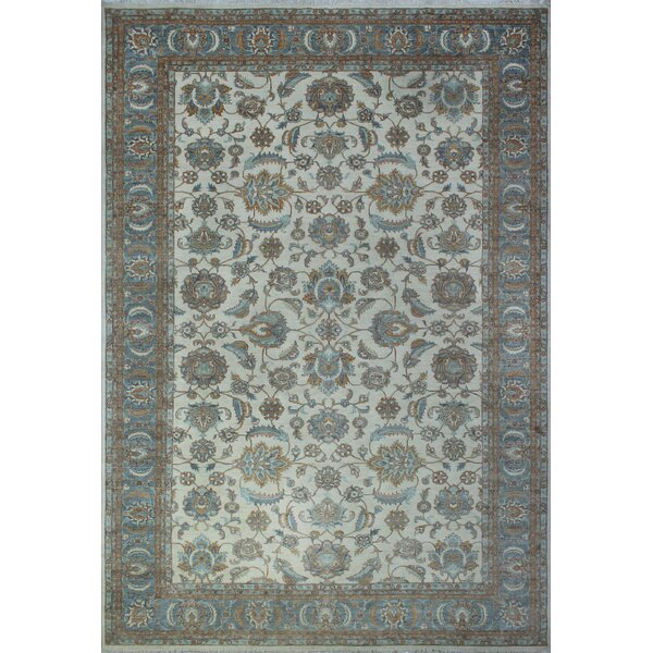 One-of-a-Kind Longoria Bahualdin Hand-Knotted Wool Ivory Area Rug by Canora Grey