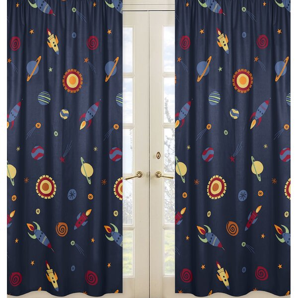 Space Galaxy Semi-Sheer Rod Pocket Curtain Panels (Set of 2) by Sweet Jojo Designs
