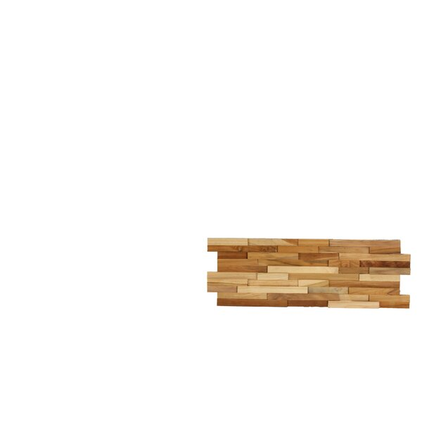 3D Mosaic 21.5 x 8.25 Wood Tile in Brown by Bare Decor