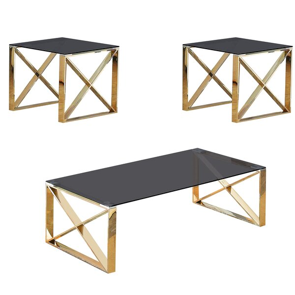 Kelvin 3 Piece Coffee Table Set by Orren Ellis Orren Ellis