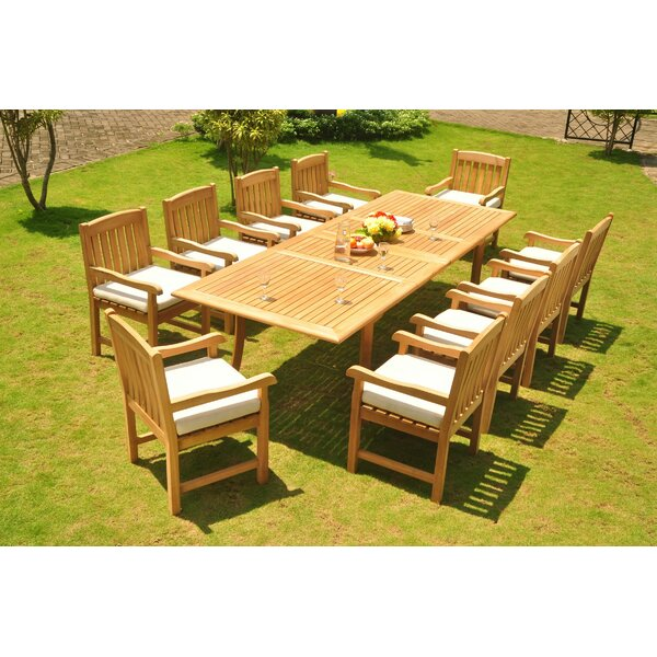 Nohoff Luxurious 11 Piece Teak Dining Set by Rosecliff Heights