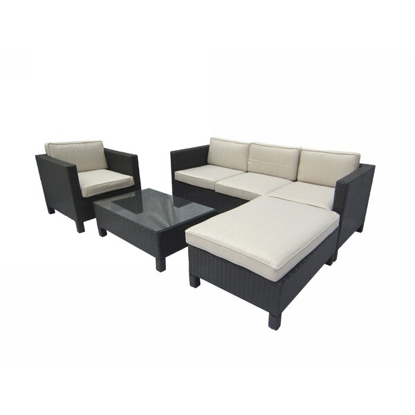 Brookfield 4 Piece Rattan Sectional Set with Cushions by Breakwater Bay