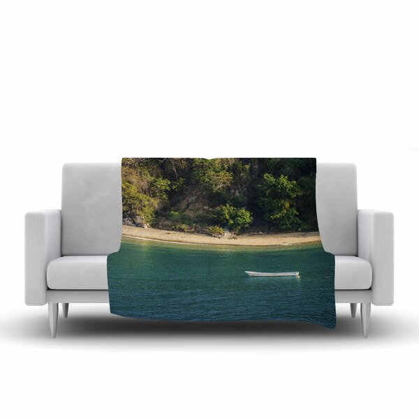 Nick Nareshni Lonely Boat on Coast Photography Fleece Throw by East Urban Home