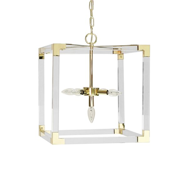 3 - Light Unique / Statement Rectangle / Square Chandelier By Worlds Away