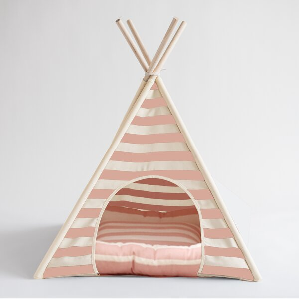 Striped Pet Teepee Hooded Dog Bed by Nooee Pet