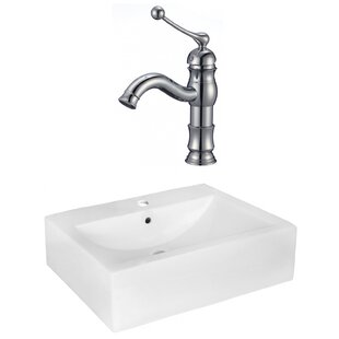 Compare & Buy Xena Farmhouse Semi-Recessed Ceramic Rectangular Vessel Bathroom Sink with Faucet and Overflow ByRoyal Purple Bath Kitchen