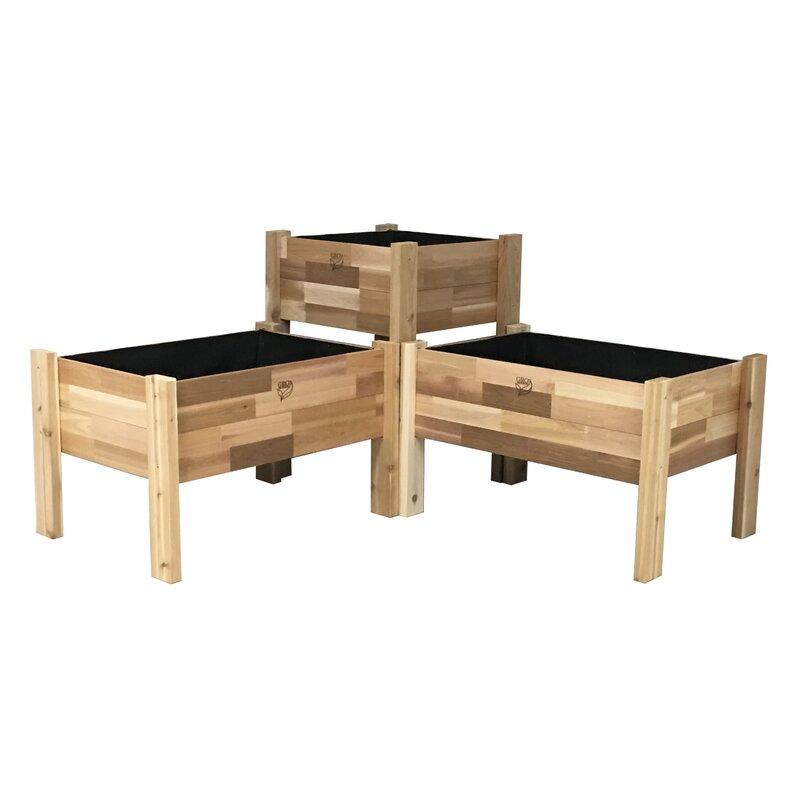 Enloe Cedar Elevated Garden 3 Piece Planter Box Set
