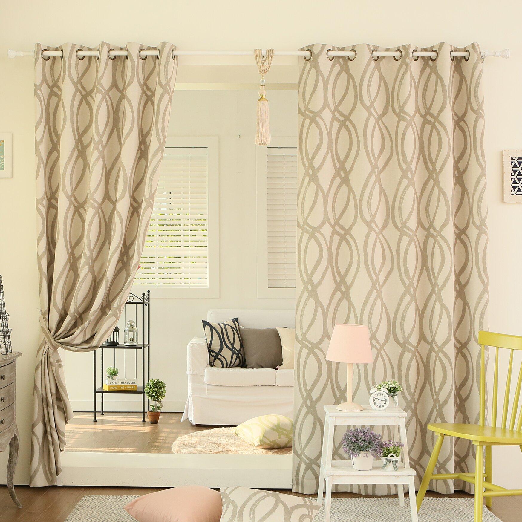 Wave Room Geometric Semi Sheer Grommet Curtain Panels Reviews Allmodern