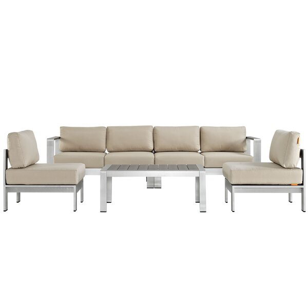 Beauvue 5 Piece Outdoor Patio Aluminum Patio Sofa with Cushions