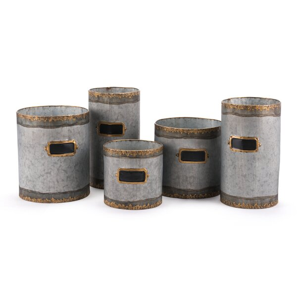 Posita 5-Piece Steel Pot Planter Set by 17 Stories