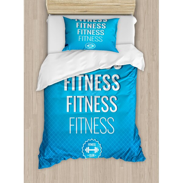 Motivation Regular Exercise Theme Fitness Words Checkered Backdrop Typography Duvet Set by East Urban Home
