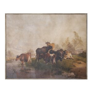 Turn of the Century 'Vintage Reproduction of Cows' Painting Print by Creative Co-Op
