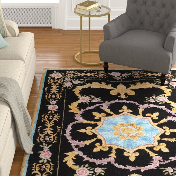 Chaplain Hand-Tufted Black/Yellow/Blue Area Rug by Astoria Grand