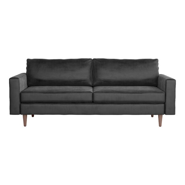 Hostim Charcoal Velvet Sofa By Brayden Studio