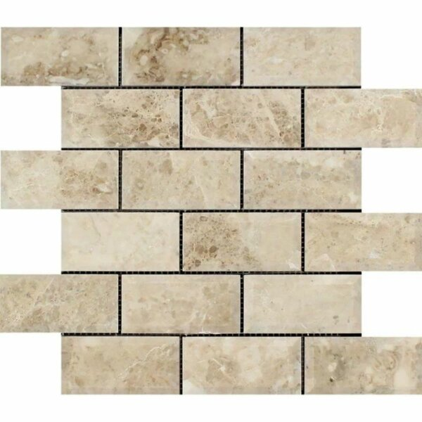 2 x 4 Marble Brick Joint Mosaic Wall & Floor Tile