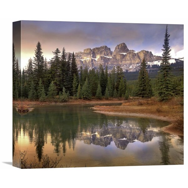 Nature Photographs Castle Mountain and Boreal Forest Reflected by Global Gallery