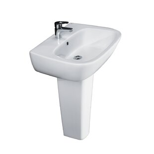 Find for Elena Vitreous China Pedestal Bathroom Sink with Overflow By Barclay