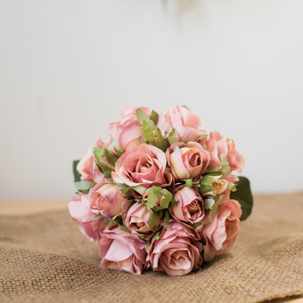 Rustic Silk Rose Bouquet Floral Arrangement (Set of 20) by Ophelia & Co.