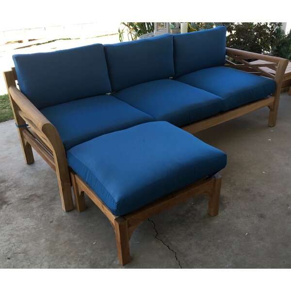 Lorenzo Teak Patio Sofa with Sunbrella Cushions by Longshore Tides