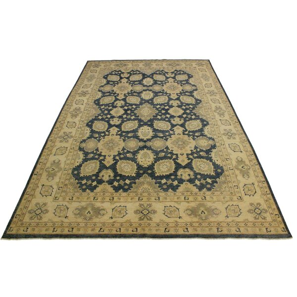 One-of-a-Kind Silke Hand-Knotted 1960s Heritage Charcoal/Beige 9'9 x 14'4 Wool Area Rug