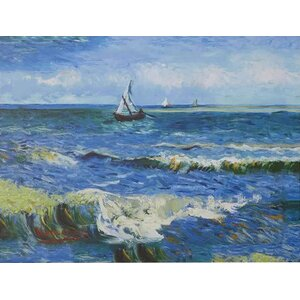 Seascape at Saintes Maries' by Vincent Van Gogh on Canvas in Blue by Beachcrest Home
