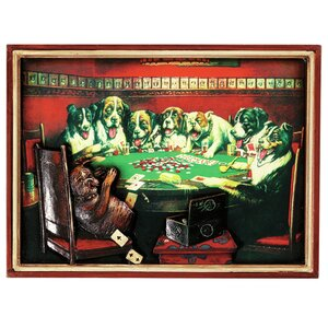 Game Room Poker Dogs Under the Table Framed Vintage Advertisement by RAM Game Room