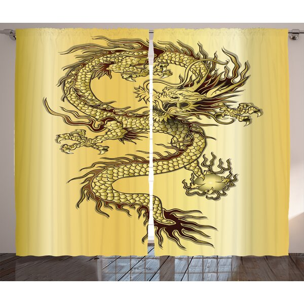 Damaris Dragon Graphic Print and Text Semi-Sheer Rod Pocket Curtain Panels (Set of 2) by World Menagerie