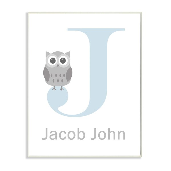 Blue Letter with Owl Personalized Wall Plaque by Stupell Industries