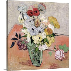 'Roses and Anemones, 1890' by Vincent Van Gogh Painting Print on Wrapped Canvas by Great Big Canvas