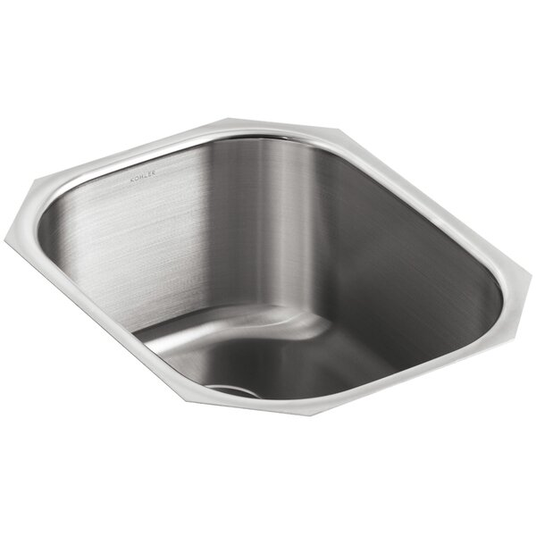 Undertone 15-1/2 L x 19-5/8 W x 9-1/2 Under-Mount Round Single-Bowl Kitchen Sink by Kohler