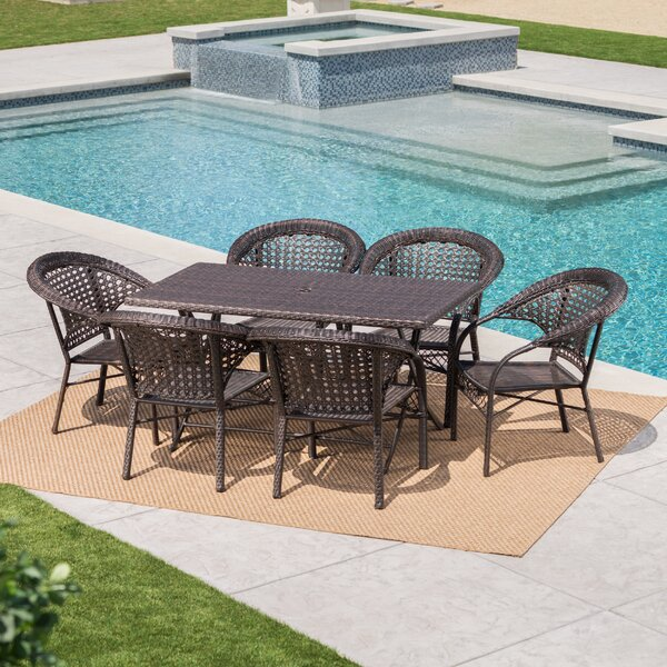 Trajkova Outdoor 7 Piece Wicker Dining Set by August Grove