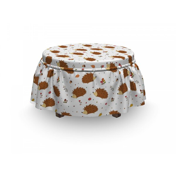 Hedgehog Playful Forest Animals 2 Piece Box Cushion Ottoman Slipcover Set By East Urban Home