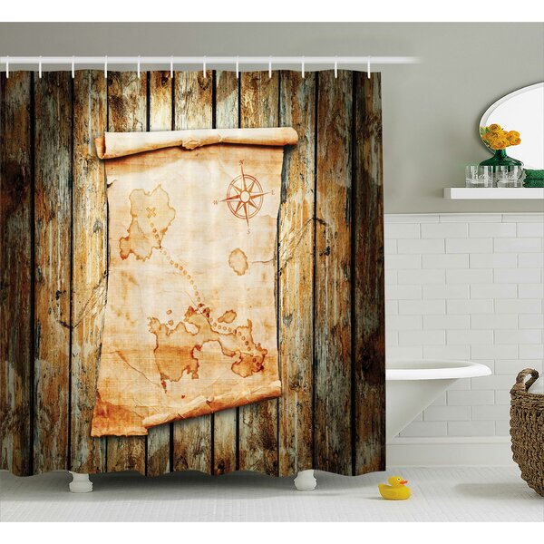 Fabric Map on Grunge Timber Shower Curtain by East Urban Home