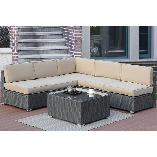 Gallimore 6 Piece Sectional Seating Group with Cushions by Highland Dunes