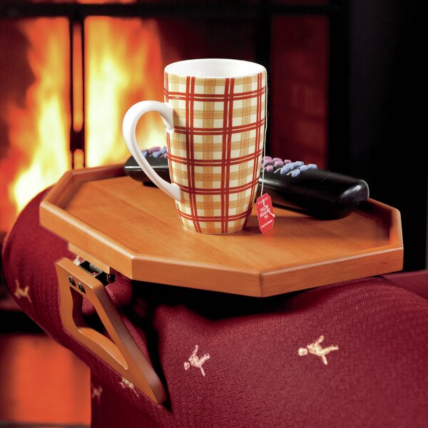 Wooden Clip-On Armchair Table with Protective Lip by Plow & Hearth