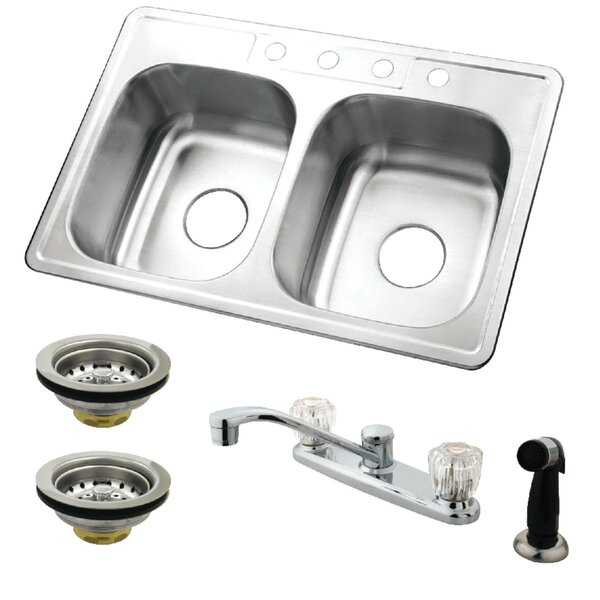 33 L x 22 W Double Basin Undermount Kitchen Sink with Faucet, Side Sprayer and Strainer by Kingston Brass