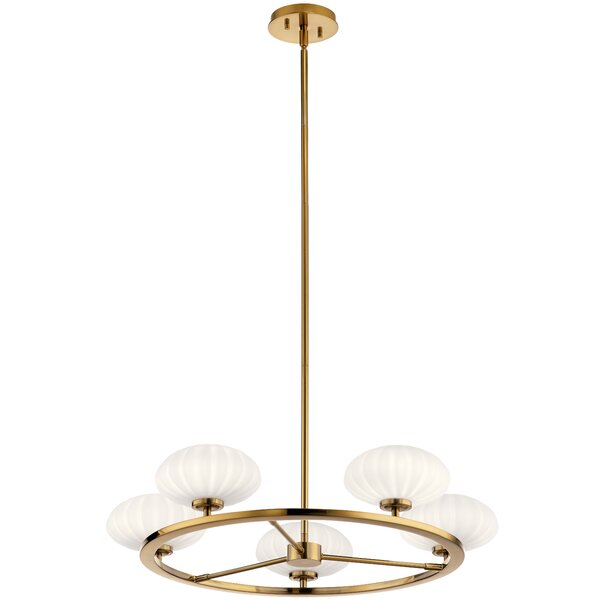 Marjorie 5 - Light Shaded Wagon Wheel Chandelier by Everly Quinn Everly Quinn