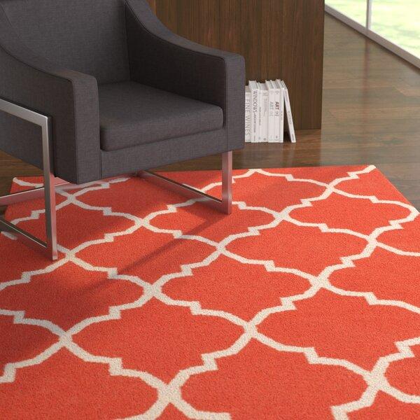 Bangor Orange Geometric Area Rug by Ebern Designs