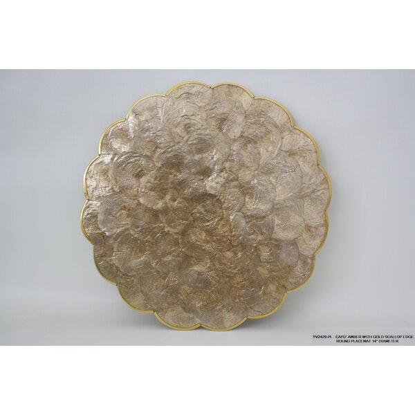 Willington Gold Edge Scallop Placemat (Set of 4) by Highland Dunes