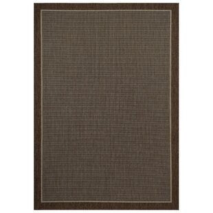 Charlottesville Border Dark Brown Indoor/Outdoor Area Rug by Charlton Home