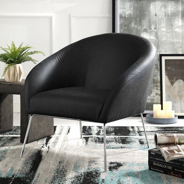 Achilles Leather PU Barrel Chair by Nicole Miller