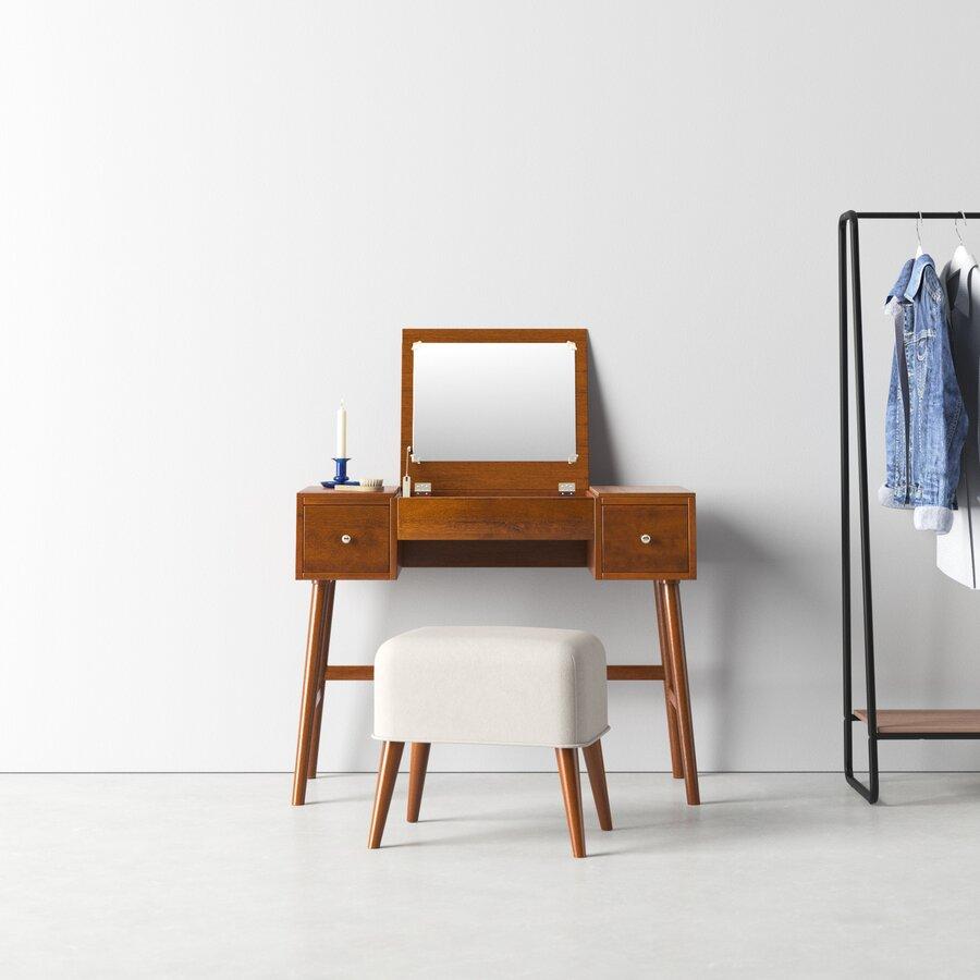 Makayla Vanity Set with Stool and Mirror