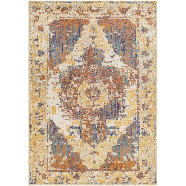 Almendarez Distressed Gold/Orange Area Rug by Bungalow Rose