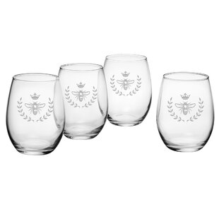 Purchase Vintage Bee 21 oz. Stemless Wine Glass (Set of 4) BySusquehanna Glass