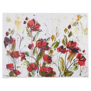 'Floral' Painting Print on Wrapped Canvas by Three Posts