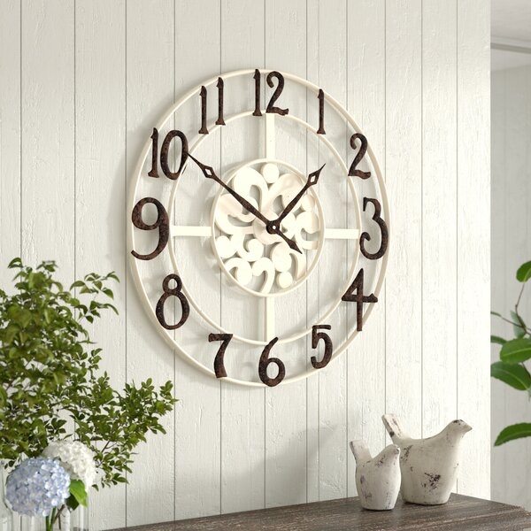 Oversized Whalen 32 Numbers Off White Wall Clock by Ophelia & Co.