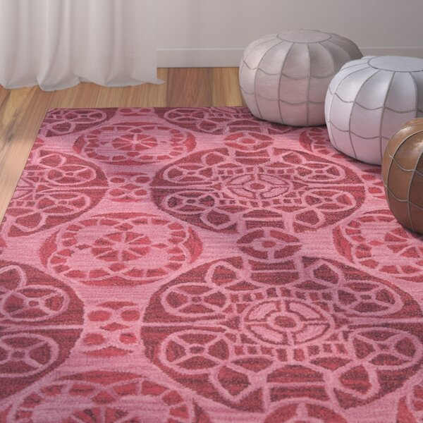 Kouerga Wool Hand-Tufted Red Area Rug by Bungalow Rose