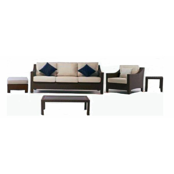 Hamilton Outdoor 5 Piece Rattan Sofa Seating Group With Sunbrella Cushions By Latitude Run