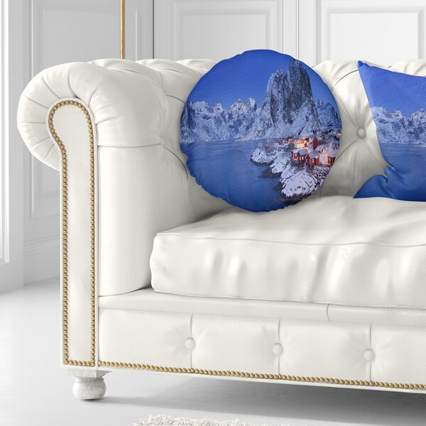 Seashore Fishermen Cabins in Winter Throw Pillow by East Urban Home